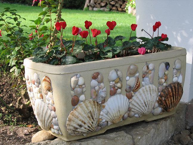 Декор цветочных горшков в морском стиле