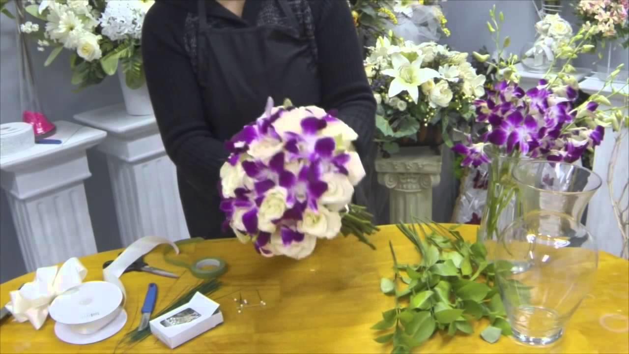 Свадебные букеты из живых цветов мастер класс