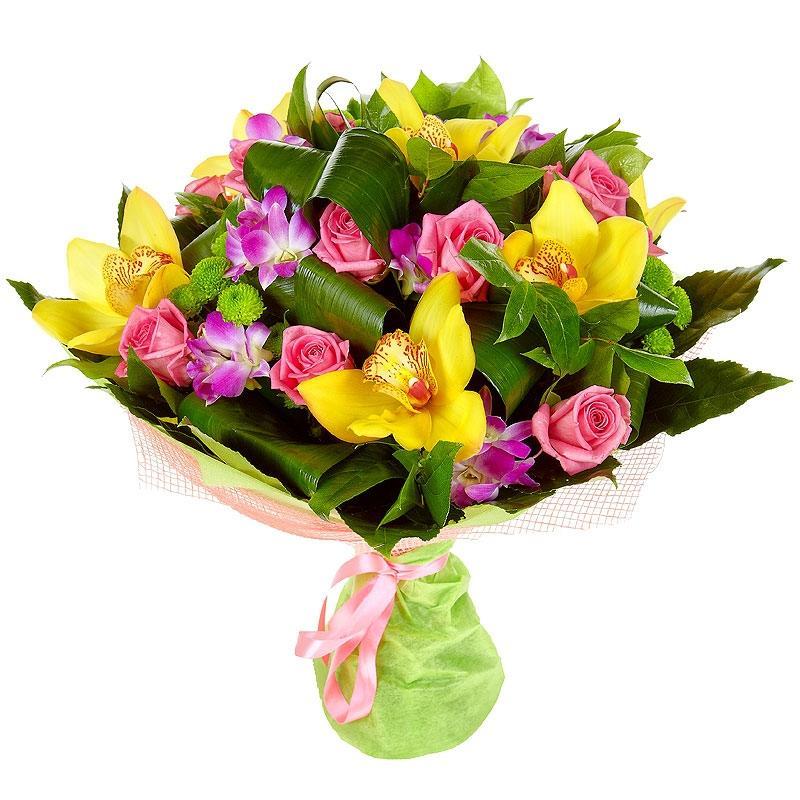 Орхидеи в сочетании с розами